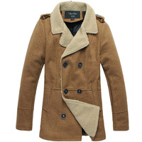 2014 winter plus size men's trench male trench thickening trench male trench