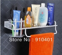 Free Shipping Wholesale Promotion NEW Fashion NEW Wall Mounted Bathroom Shower Caddy Shelf Aluminum Toothbrush Rack Towel Bar