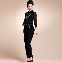 Free Shipping New 2014 Women Wide Leg chiffon jumpsuit with belt and Necklace,Big size Female Desinger rompers S M L XL 2xl 3xl
