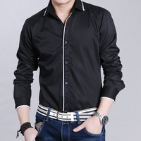 QP-225 2013 autumn and winter men's clothing male long-sleeve shirt men's clothing plus size plus size shirt black and white