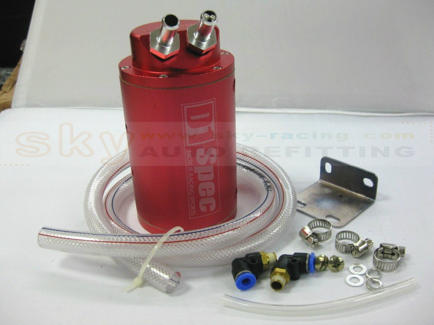 Free shipping new Universal 10mm (RED) D1 Engine Oil Catch Tank Can Filter Reservoir Performance JDM Racing Oil Catch Tank Can(China (Mainland))