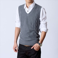 Men's sweater vest rhombus V-neck knitted cotton sweater vest male QP-280