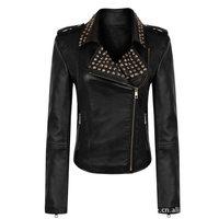 New Women Turn-down Collar PU leather motorcycle jackets Ladies Casual long sleeve outwear fashion European version Coat Black