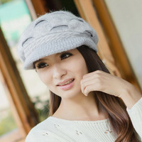 Hat female winter rabbit fur cap big warm hat ear protector cap fashion knitted hat knitted hat