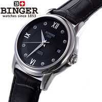 Binger accusative case watch male watch fully-automatic mechanical watch barton series of the skin of black watch