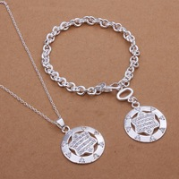 S358 Free Shipping,wholesale 925 silver jewelry set,fashion star jewelry set for women