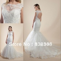 2014 New Custom Made Mermaid Wedding Dress High Neck Ruched Tulle Appliques Beads Bridal Gowns Button Chapel Train