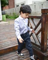 Autumn Korean boy pants children cotton casual trousers thin Lattice flanging