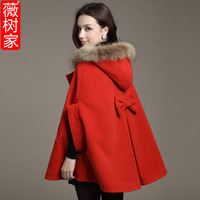 Formal slim wool coat with a detachable hood double breasted slim long-sleeve woolen outerwear female