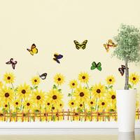 Sunflower Butterfly Pattern Removable Wall Stickers Wall Art Decals Wonderful Kids Room Sticker