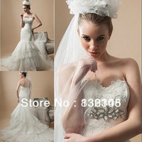 2014 New Custom Made Mermaid Wedding Dress Sweetheart Ruched Tulle Appliques Beads Bridal Gowns Lace-up Chapel Train