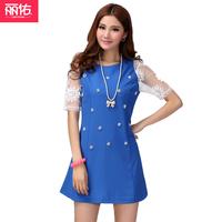 2013 plus size classic lace gauze breathable women's slim chiffon one-piece dress 2063