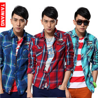 New arrival 2013 men's clothing fashion british style plaid long-sleeve shirt male cc-207