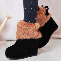 Winter thickening warm shoes sweet bow plush snow boots ultra high heels platform boots wedge boots