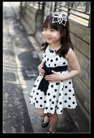 baby girls brand children clothing 100 cotton 3~11age navy/white girl dresses summer children dress