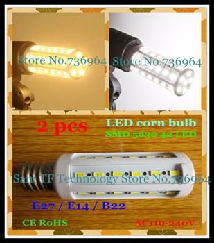 Free shipping 2 pcs SMD 5630 42 LED 12W E27 E14 B22 Corn Bulb Light Maize Lamp LED light LED Lamp LED Lighting Warm/Cool White