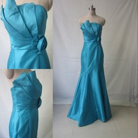 DMR067 Deamaker floor length real blule taffeta evening dresses