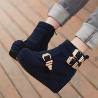 2013 autumn and winter shoes fashion plus wool snow boots high-heeled wedges flat heel boots platform female