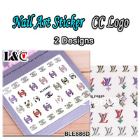 Nail 20Sets/Lot Brand Name Giltter 3D Nails Stickers L CC V Designs Nails Decal DIY Decoration  #885+886 Free shipping