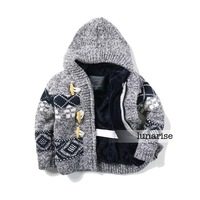 Children's clothing 2013 autumn male child baby cashmere sweater hooded outerwear sweater sweater