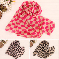 2014 Cheap classic British plaid scarf Women chiffon silk scarf lady soft neckerchief shawl 5pcs/lot free shipping drop shipping