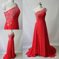 DMR061 Deamaker one shoulder crystal beaded red chiffon evening dresses real made sample 2014