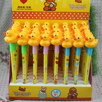 48pcs/lot free shipping 2014 yellow duck pen creative stationery cartoon pattern pressed wholesale promotional ballpoint pen