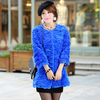 2013 medium-long fur rex rabbit slim flower velvet fur coat female