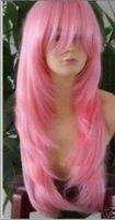 nouvelle longue perruque rose cheveux raides/pink wigs