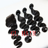"1 Piece Top Lace Closure with 3Pcs Hair Bundle,4pcs/lot,Brazilian Virgin Hair Weave Body Wave 12""-30"" Free shipping"