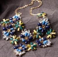 European and American fashion jewelry big new double personality Flower Pendant Necklace Short Women's Sweater  N48