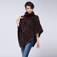 Handmade knitted rabbit fur shawl fur mix match knitted cloak free shipping