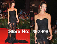 Free shipping new style sexy black lace floor length A-line sweetheart neckline red carpet dress /celebrity dress pr-1320