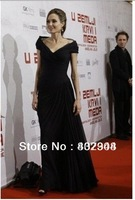 FREE shipping 2013 new arrival angelina jolie black chiffon A-line long dress V-neck red carpet dress /celebrity dress
