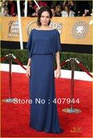 2014 new arrival angelina jolie BLUE A-line half dress scoop neck red carpet dress /celebrity dress
