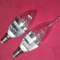 Free shipping, E14 Candle Lamp 3W,E27 Candle Lamp 3W,Epistar Led chip, High Brightness, 2 years warranty, ce& Rohs,6 pcs/Lot