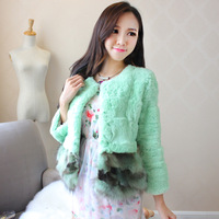 New arrival 2013 rex rabbit hair fur raccoon patchwork three quarter sleeve short coat design fur top