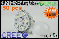 DHL FEDEX Free CREE 10W E27 E14 B22 LED Light Globe Lamp Bulb 85-265V CE ROHS 50pcs/lot Factory Promotion