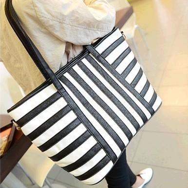 Free shipping Su shop shoulder bag female Korean wave of female zebra stripes big bag commuter bag handbag factory direct(China (Mainland))