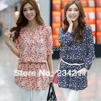 In 2014, the new large long sleeve shirt dress of high quality cotton T-shirt style/print dress 2 xl 3 xl 4 xl