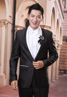 The groom married formal dress set male black long-sleeve slim suit costume