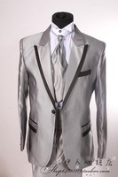 Male grey long-sleeve suits combination black grey formal dress