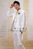 Groom wedding dress male slim suits white