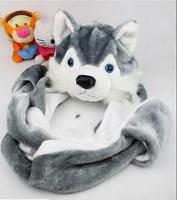 Husky Dog Design Animal Cartoon Style Hat Scarf Gloves Set Cute Child Adult Lovely Soft Plush hats glove set Free shipping