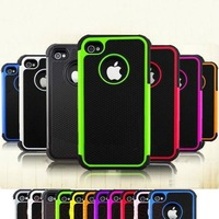 Amored Hybrid Hard Silicone Combo Rubber Defender Matte 2 in 1 Case Cover For  iPhone 4 4S