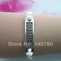 Handmade White color leather wrist bracelet one charm Best Friend strand bracelets antique silver new designs bracelet BR711