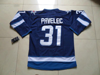 2013 New Winnipeg 31# Ondrej Pavelec blue Ice Hockey Jersey Embroidery logos Cheap Hockey jersey Free Shipping Mix Order