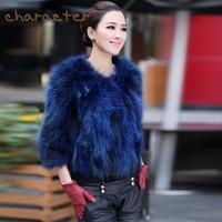 2013 fur raccoon fur fox fur coat short design women's