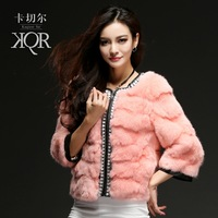 Card twitchell 2013 fur rabbit fur wool fur coat three quarter sleeve short design female