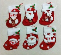 Free shipping 2013 Christmas decorated Christmas stockings lovely Chritmas family gift christmas tree decoration